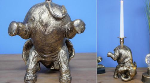 Chandelier en résine en forme d'éléphant de cirque, finition vieux métal doré