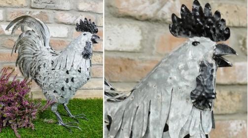 Coq en métal décoratif finition gris zinc, ambiance ancienne ferme, bec noir, 46cm
