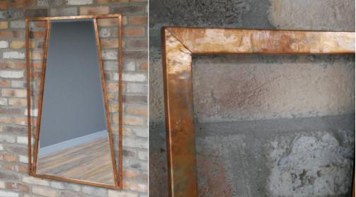 Grand miroir style indus - atelier de zinguerie, finition cuivre effet ancien, forme géométrique