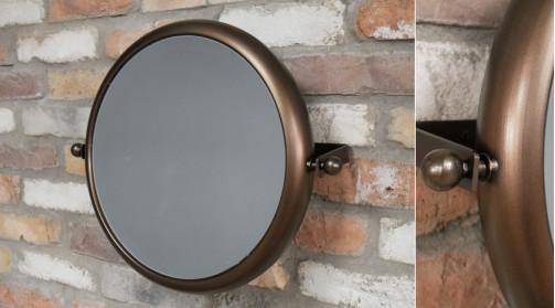Miroir mural inclinable en métal, pour salle de bain essentiellement, Ø40cm