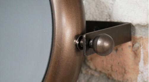 Miroir petit modèle en métal pour salle de bain, noisette cuivré, inclinable, 28cm de diamètre