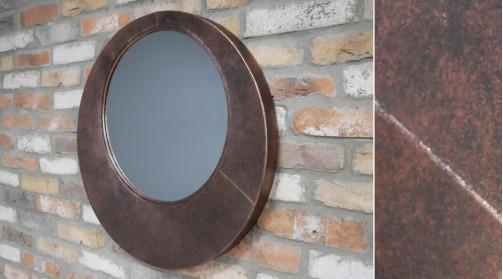 Miroir en métal mural, ambiance moderne linéaire et géométrique, finition métalisé effet ancien