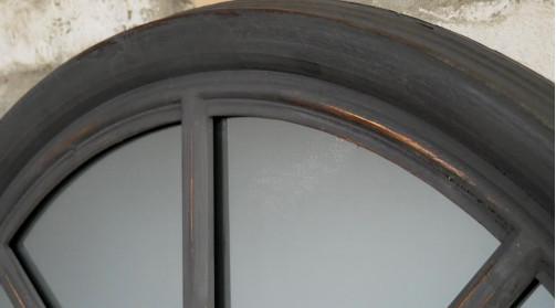 Miroir fenêtre en arcade, fabriqué en bois, en finition noir charbon vieilli