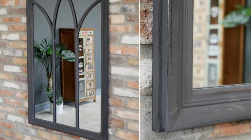 Grand miroir en forme de fenêtre arrondie, décoration chic et élégante, finition noir charbon effet ancien, 140cm
