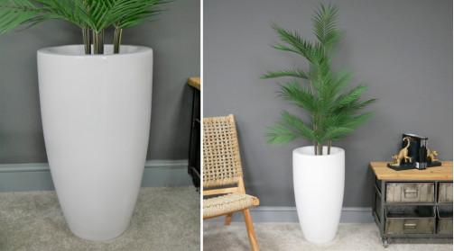 Grand vase pot en résine finition blanc éclatant, ambiance moderne épurée, Ø33cm