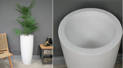 Grand cache pot en résine blanche, finition éclatant, 76cm de haut, Ø35cm