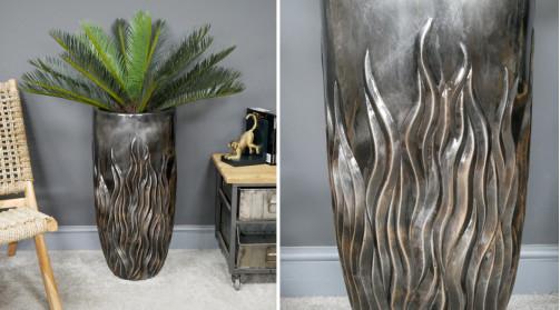 Grand vase cache pot en résine finition métal anthracite brillant, 70cm de haut, Ø33cm