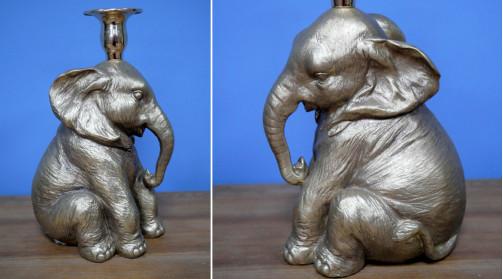 Porte bougie en résine finition métal effet brossé, déco animalière en forme d'éléphant