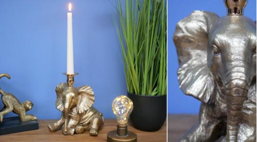 Chandelier en résine en forme d'éléphant assis, décoration thème savane, finition métal brossé
