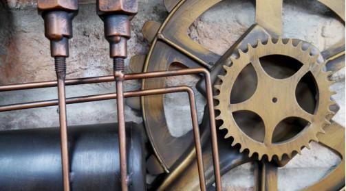 Horloge murale déco en métal de style industriel, ambiance vannes, nanomètres et engrenages
