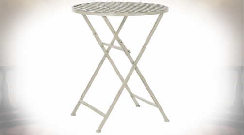 TABLE MÉTAL 60X60X74 PLIABLE VIEILLI BLANC