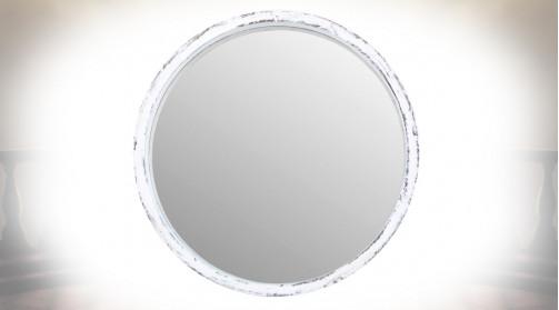 Miroir mural rond en bois patiné blanc vieilli ambiance romantique, Ø 47cm