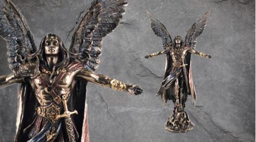 Statuette de l'archange Uriel, en résine finition dorée effet ancien bronze, déco des archanges