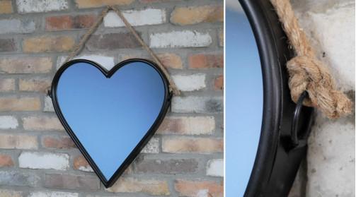 Miroir mural en métal en forme de coeur, à suspendre avec corde naturelle, 47cm