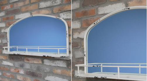 Miroir de 80cm de long avec encadrement en métal finition crème