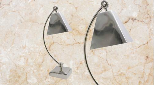 Lampe de table - auxiliaire en métal finition alu chromé effet ancien, modèle vintage
