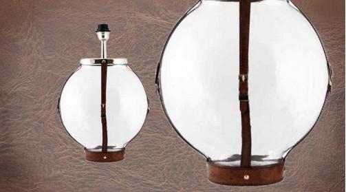 Pied de lampe en verre et lanière de cuir véritable, ambiance chic et originale