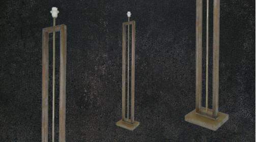 Lampadaire de style moderne en bois finition naturelle, ambiance linéaire épurée