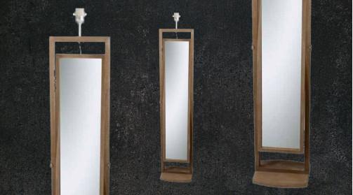 Lampadaire en bois avec miroir vertical intégré, ambiance rustico moderne, chambre à coucher ou entrée