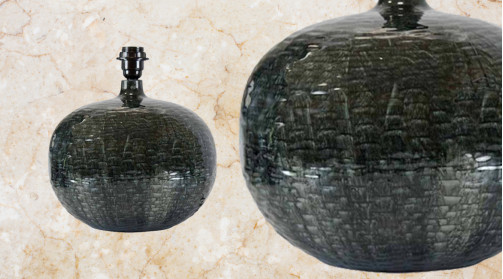 Pied de lampe en forme de boule en métal, finition bleu de minuit effet brillant émaillé