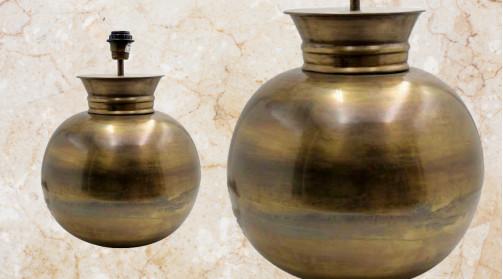 Pied de lampe en forme de boule, en métal finition effet antique, doré chic