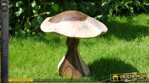 Champignon décoratif pour parc ou jardin, sculpté en bois massif