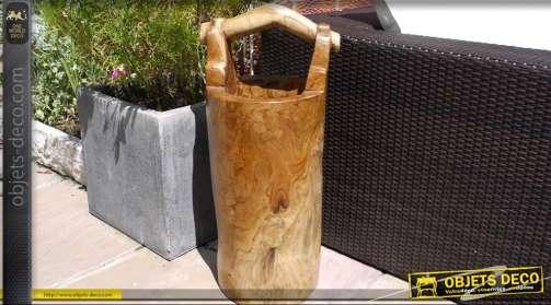 Seau décoratif en bois massif pour parc ou jardin