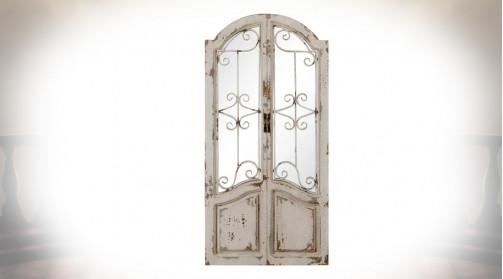 Miroir feneêtre en bois et métal, ambiance fer forgé ancien, déco campagne bohème