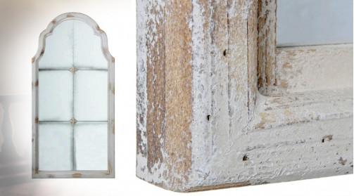 Grand miroir fenêtre en bois et verre, ambiance vieille demeure avec verre moucheté