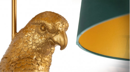 Lampadaire stylisé en résine avec pied en perroquet, finition doré ancien, ambiance Art Déco tour du monde
