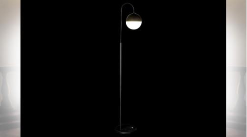 LAMPADAIRE MÉTAL VERRE 28X35X165 BALLE NOIR