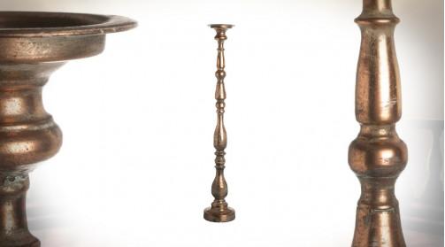 Chandelier bougeoir en métal pour grosse bougie, finition cuivre décapé effet ancien