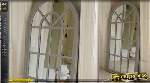 Miroir fenêtre à croisillons à fronton en arcade finition gris antique
