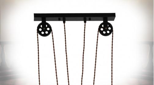 Grande suspension à trois feux en métal finition noir, ambiance indus poulies