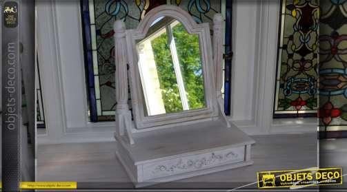 Miroir chevalet support bois blanc antique