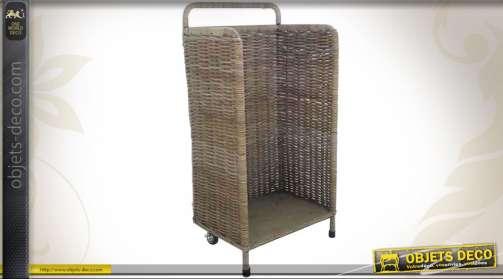 Chariot à bois vertical en poelet gris