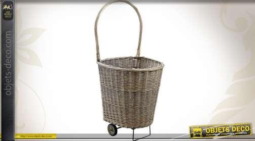 Chariot à bois en osier gris avec chassis et anse renforcés