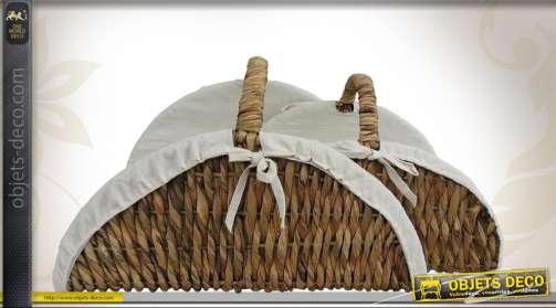 Ensemble de deux paniers en jacinthe d'eau pour le transport des bûches
