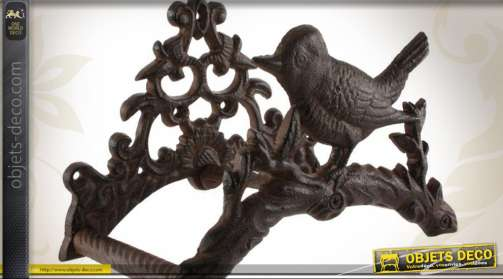 Porte-tuyau d'arrosage mural en fonte motif oiseau