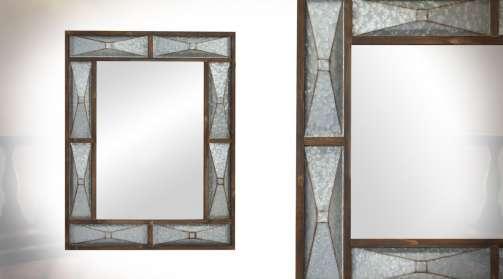 Grand miroir de 96 cm en bois et métal formes rectangulaires de style moderne
