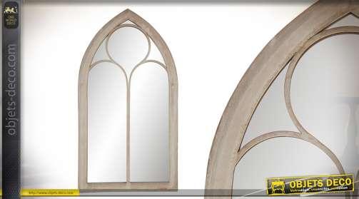 Miroir fenetre style église ou cathédral, encadrement métal finitions vieillies